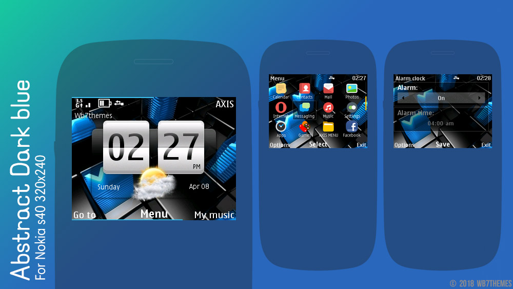 Abstract dark blue theme Nokia C3-00 X2-01