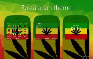 Rastafari theme for nokia s40, 320x240 screen in particular, has a characteristic rasta with its three colors. custom icons, skins media and custom elements.