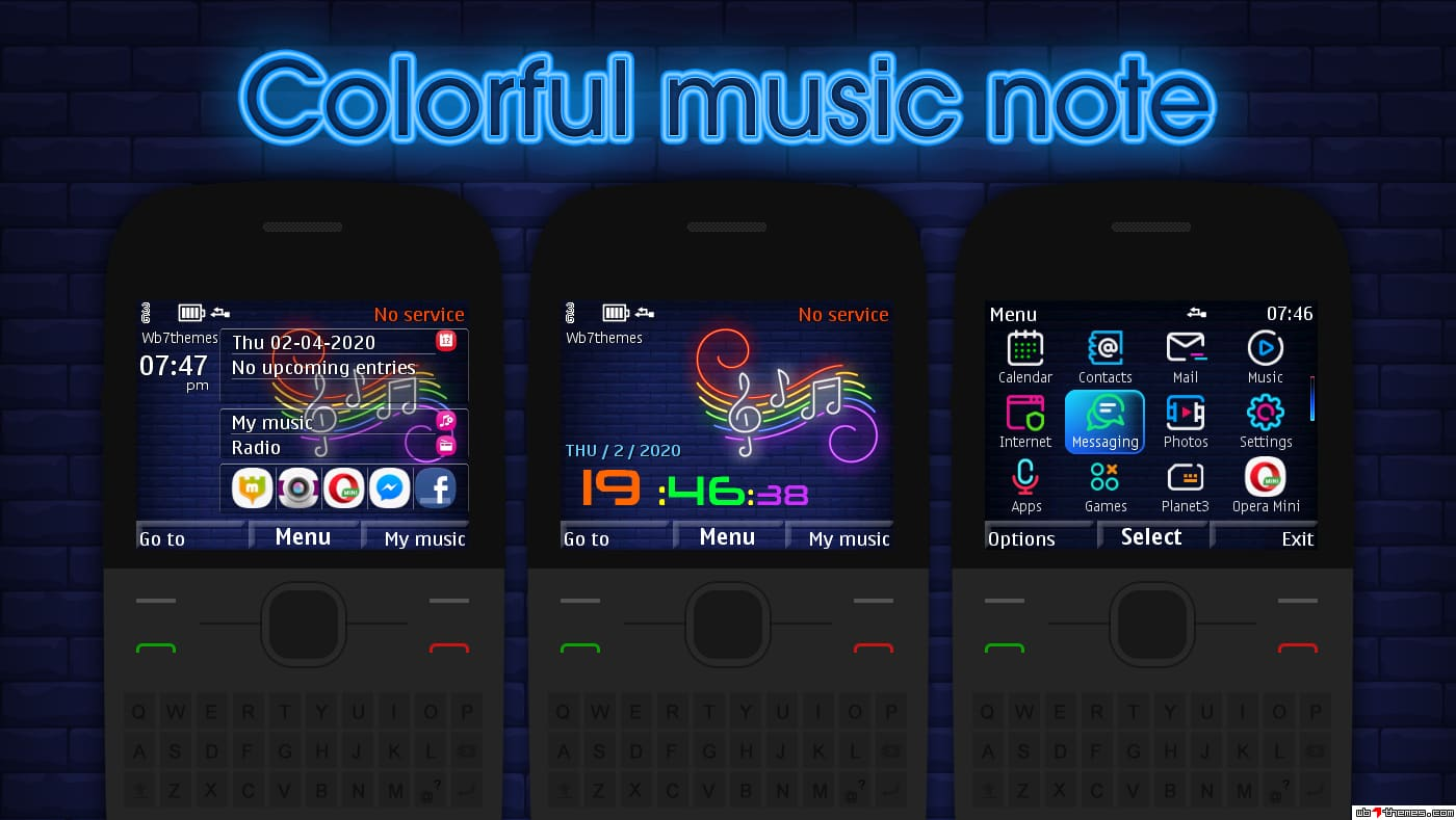 Colorful music note theme C3-00 X2-01 Asha 302 210 205 201 200
