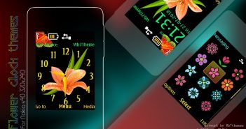 Flower clock widget theme X2-00 6300 6700 Asha 301 all s40 240×320