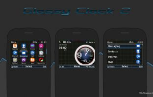 Glossy Clock v2 swf analog clock theme Asha 302 C3-00 320×240