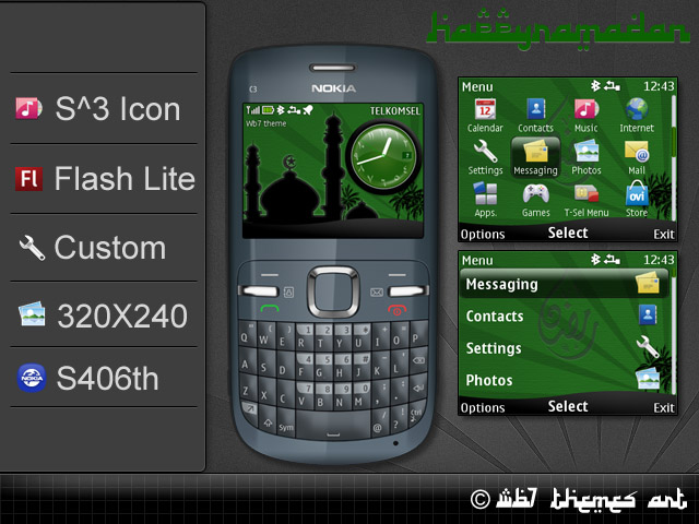 Nokia C3-00 X2-01 theme happy ramadan