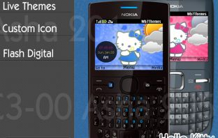 Hello Kitty theme C3-00 X2-01 Asha 200 201 302 205 210 swf clock widget