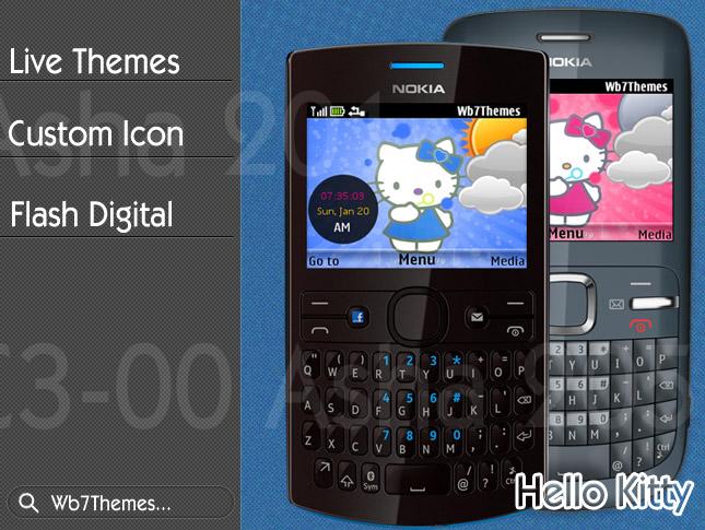 Hello kity theme C3-00, X2-01, Asha 200, 201, 205, 302