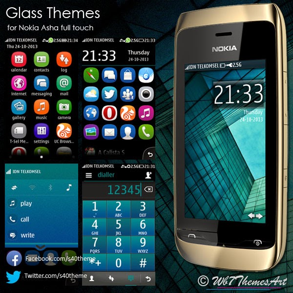 Glass themes for Nokia Asha full touch Asha-311 Asha-305 306 308 309