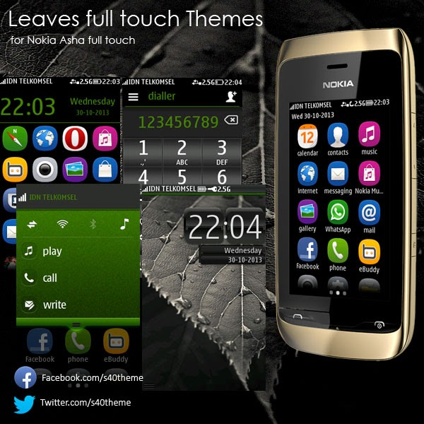 Leaf-Leaves theme for asha full touch by Wb7ThemesArt