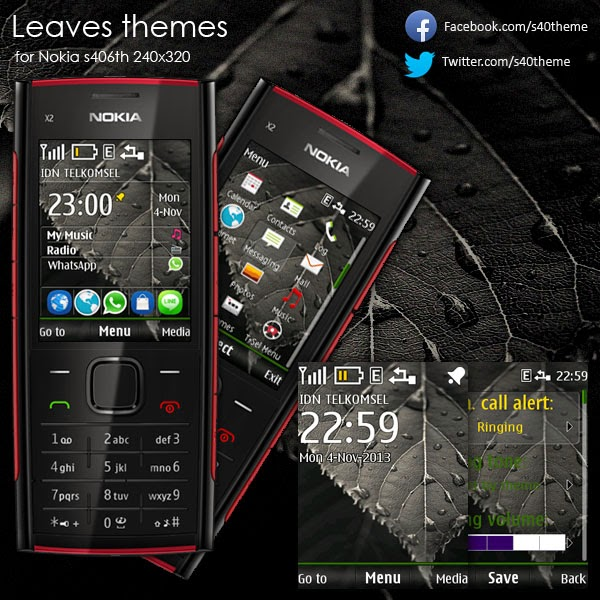 Leaves theme for nokia s406th 240x320 x2-00
