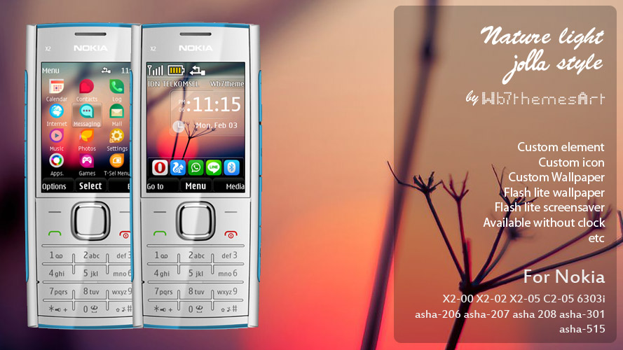 Nature light Jolla style theme for Nokia X2-00 Asha-206