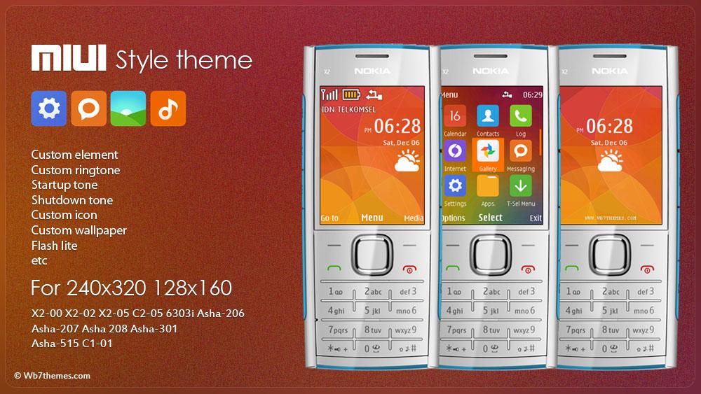 MIUI style theme s40 X2-00 X2-00 X2-02 X2-05 C2-05 6303i