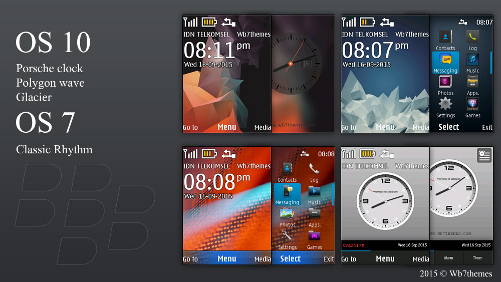 BlackBerry 10 and classic theme X2-00 240x320 s40 swf analog clock