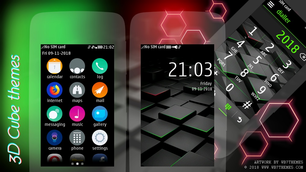 3D Cube theme Asha 311 305 308 309 306 310 full touch
