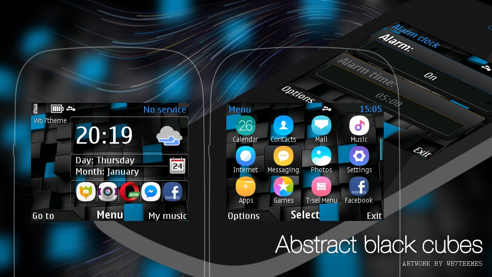 Abstract black cubes clock swf theme Asha 210 205 X2-01 C3-00 200 201
