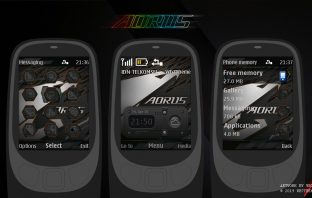 Aorus theme with battery and signal indicator theme X2-00 X3-00 X2-02