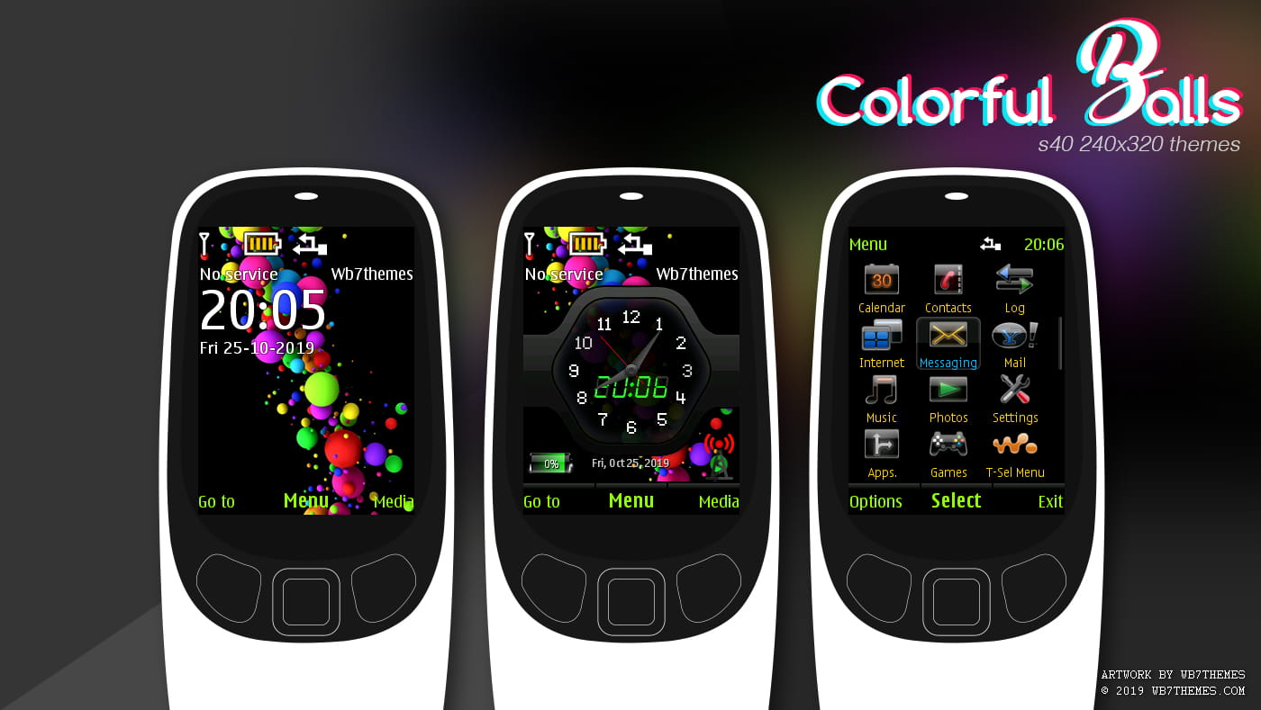 Download Colorful ball with battery signal swf theme X2-00 6700 6500
