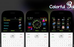 Colorful balls with battery signal indicator theme C3-00 Asha 210 205 302