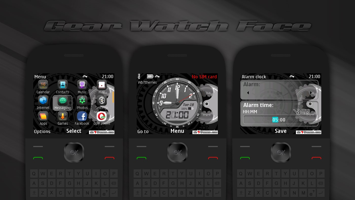 Gear watch face theme for Nokia s40 320x240