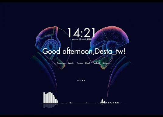 Simple clean digital clock weather and music visualizer rainmeter skin
