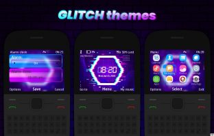 Glitch clock with battery indicator theme X2-01 C3-00 Asha 302 210 205