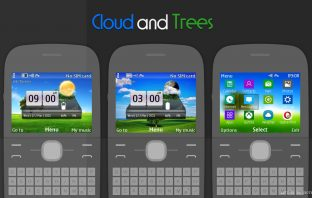 Cloud and trees 12 swf slide wallpaper theme C3-00 X2-01 asha 302 200