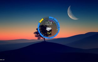 SUPERClock digital clock and current weather conditions Rainmeter skin
