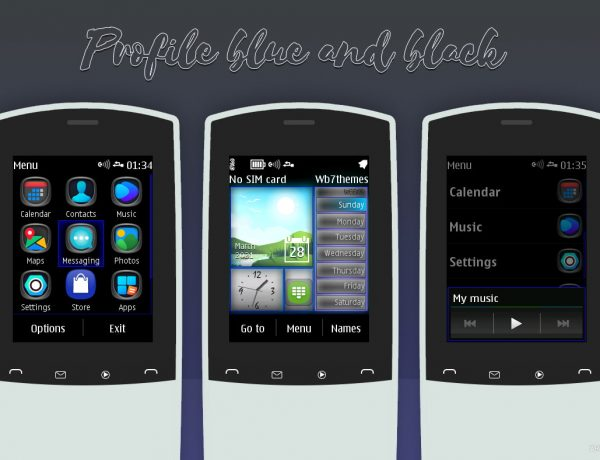 Touch type themes black and blue swf wallpaper with media skin