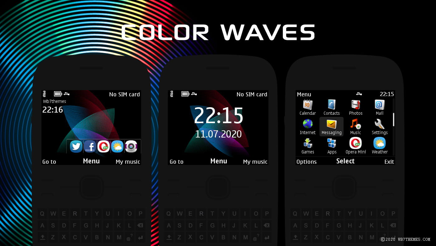 Color waves swf digital clock widget theme X2-01 C3-00 Asha 302