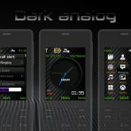 dark analog clock with battery and signal theme s40 240×320 by wb7themes