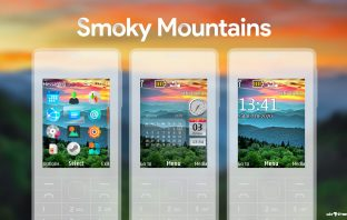 Smoky mountains swf monthly calendar with sidebar clock theme X2-00 X3